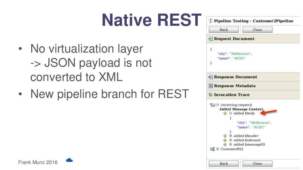 Native REST • No virtualization layer -> JSON p...