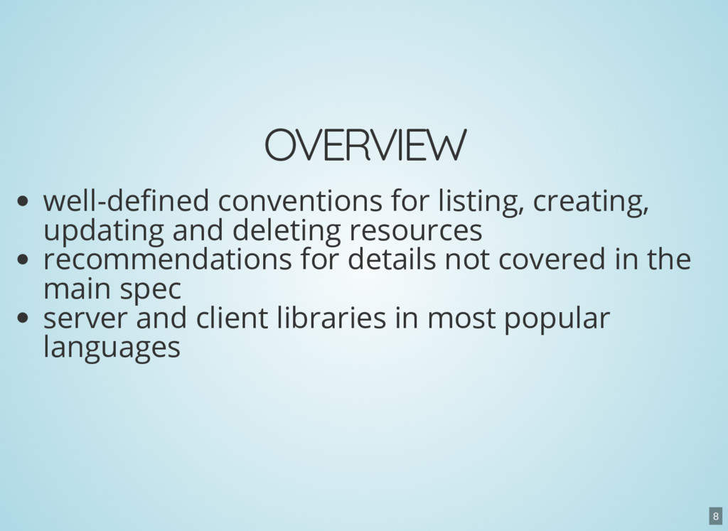 OVERVIEW well-de ned conventions for listing, c...