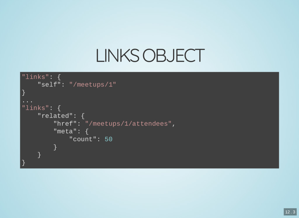 "LINKS OBJECT ""links"": { ""self"": ""/meetups/1"" } ..."