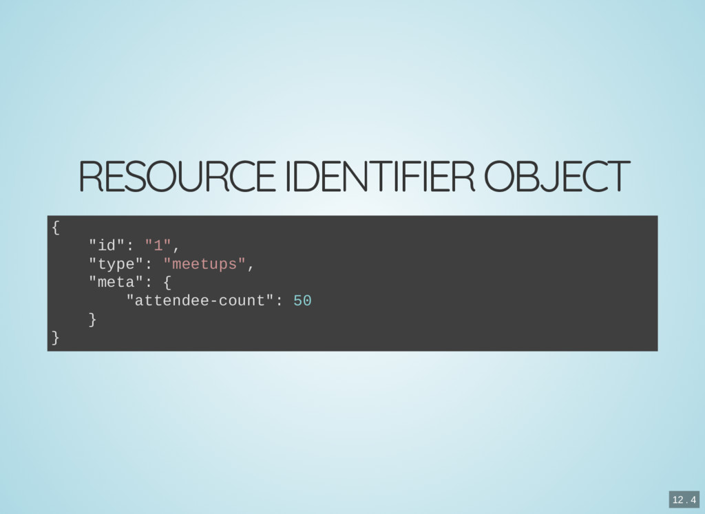 "RESOURCE IDENTIFIER OBJECT { ""id"": ""1"", ""type"":..."