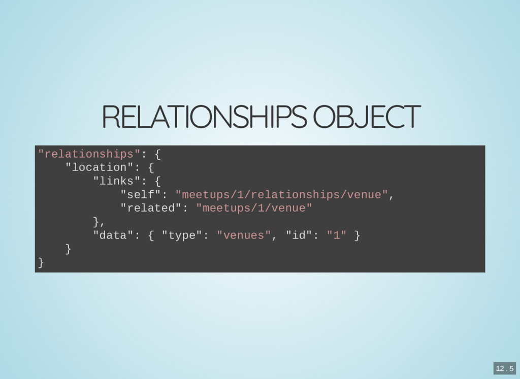 "RELATIONSHIPS OBJECT ""relationships"": { ""locati..."