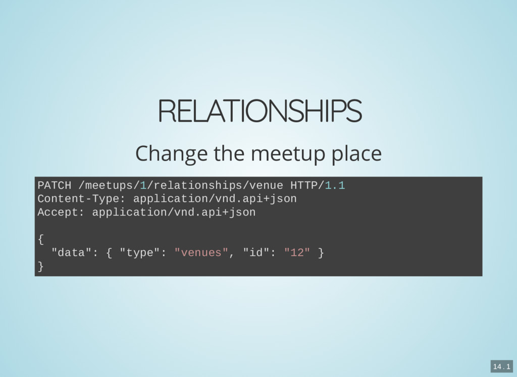 RELATIONSHIPS Change the meetup place PATCH /me...