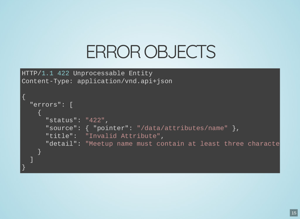 ERROR OBJECTS HTTP/1.1 422 Unprocessable Entity...