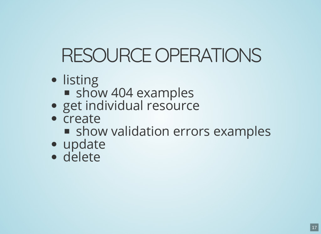 RESOURCE OPERATIONS listing show 404 examples g...
