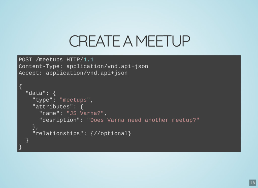 CREATE A MEETUP POST /meetups HTTP/1.1 Content-...