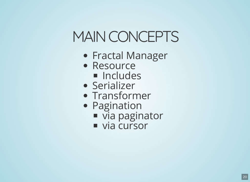 MAIN CONCEPTS Fractal Manager Resource Includes...