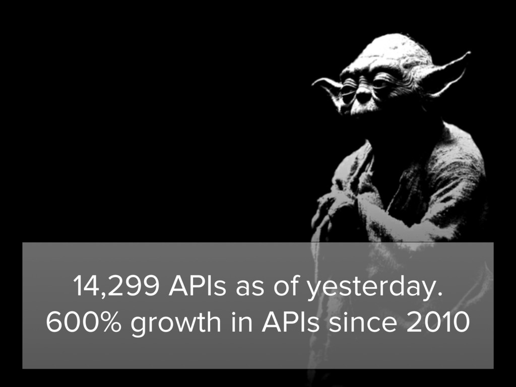 14,299 APIs as of yesterday. 600% growth in API...