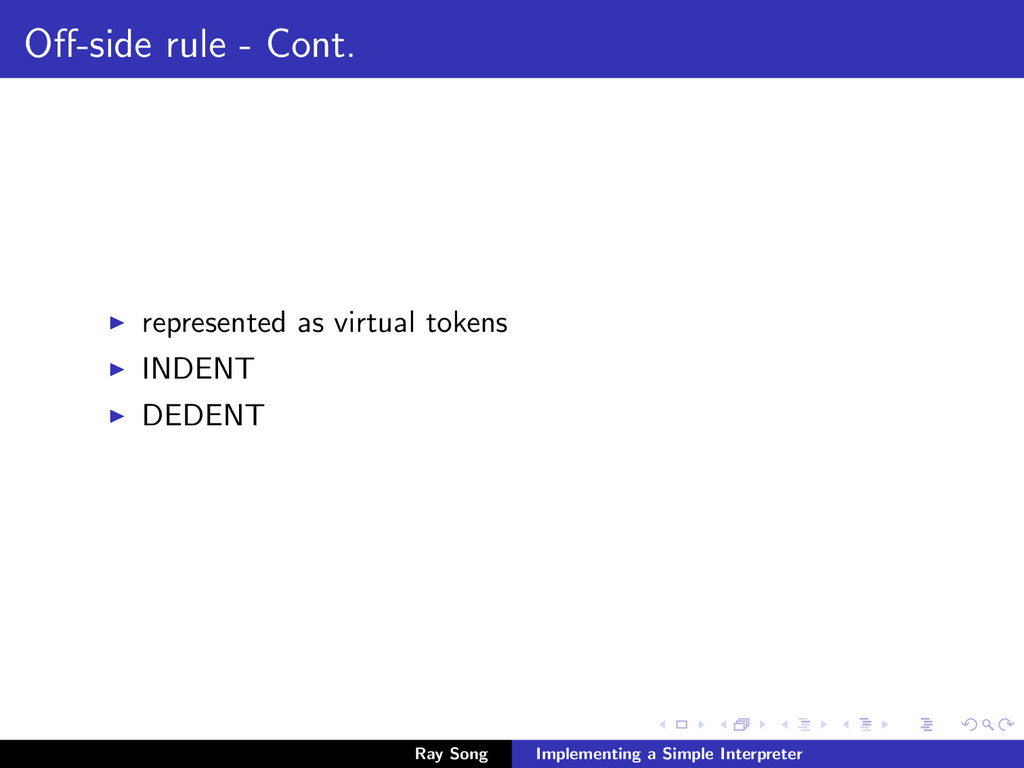Off-side rule - Cont. represented as virtual tok...