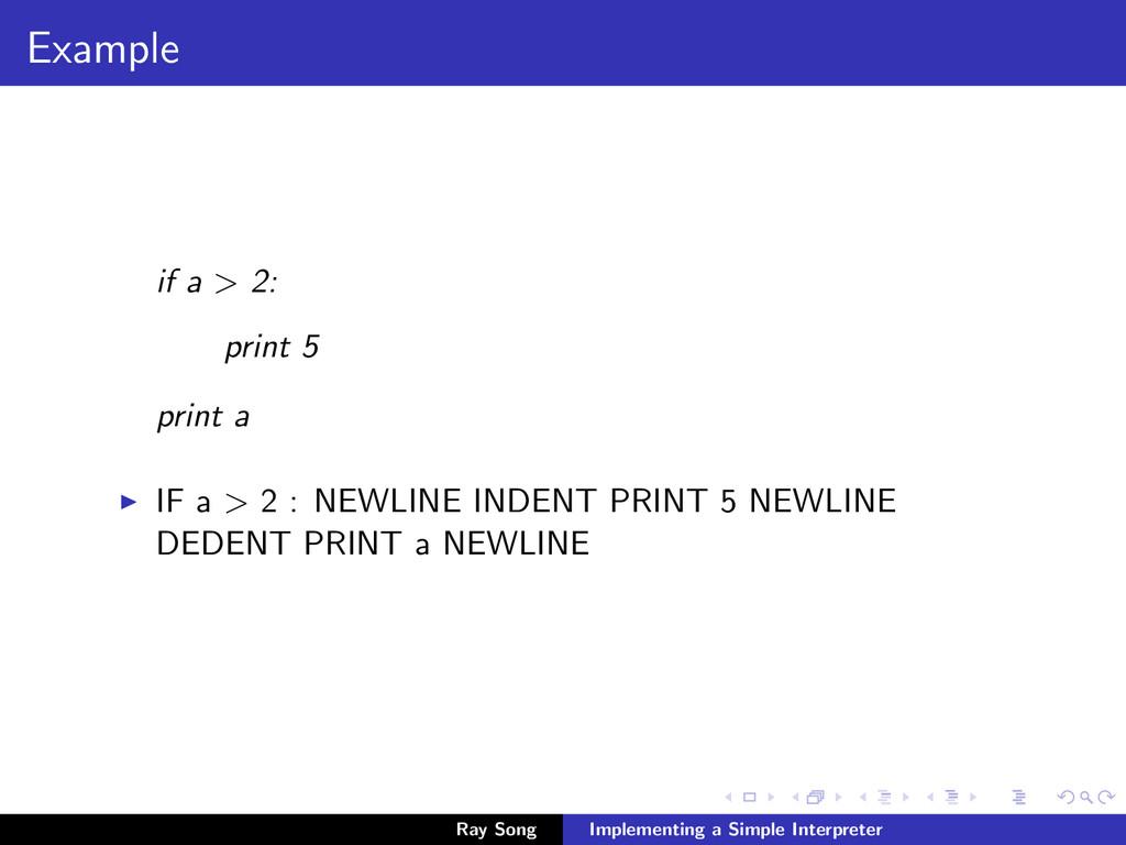 Example if a > 2: print 5 print a IF a > 2 : NE...