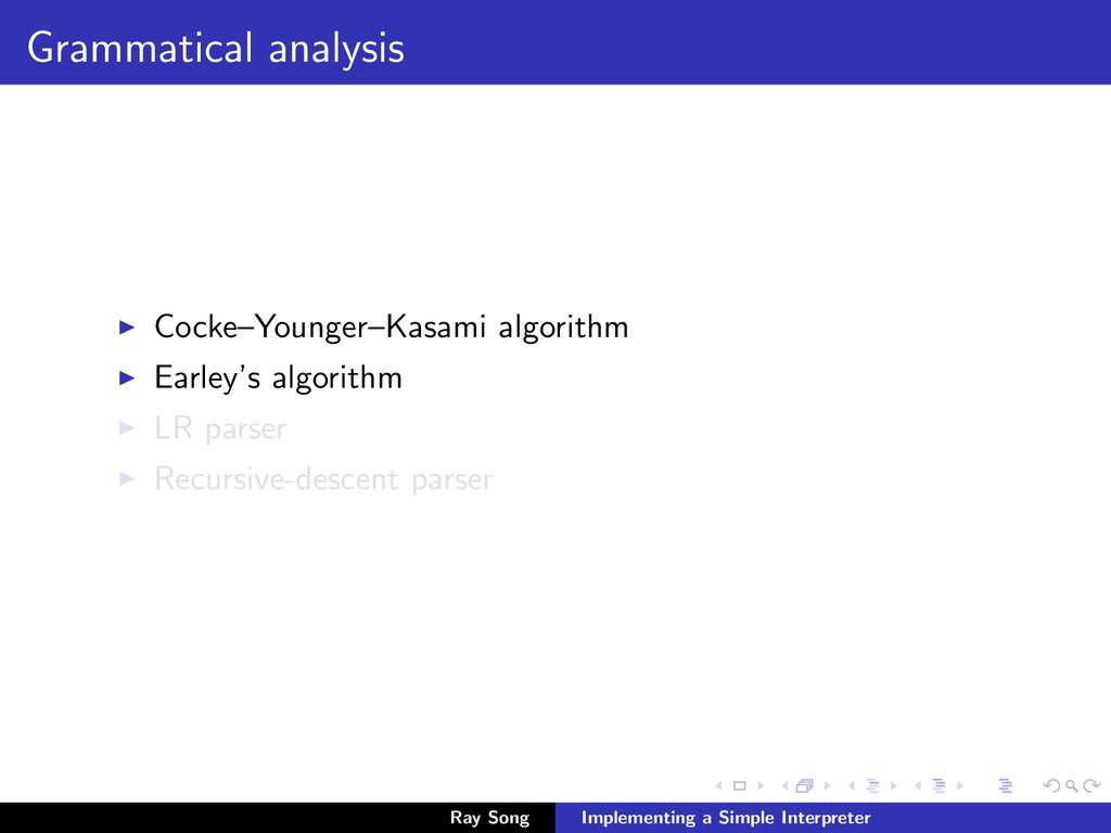 Grammatical analysis Cocke–Younger–Kasami algor...