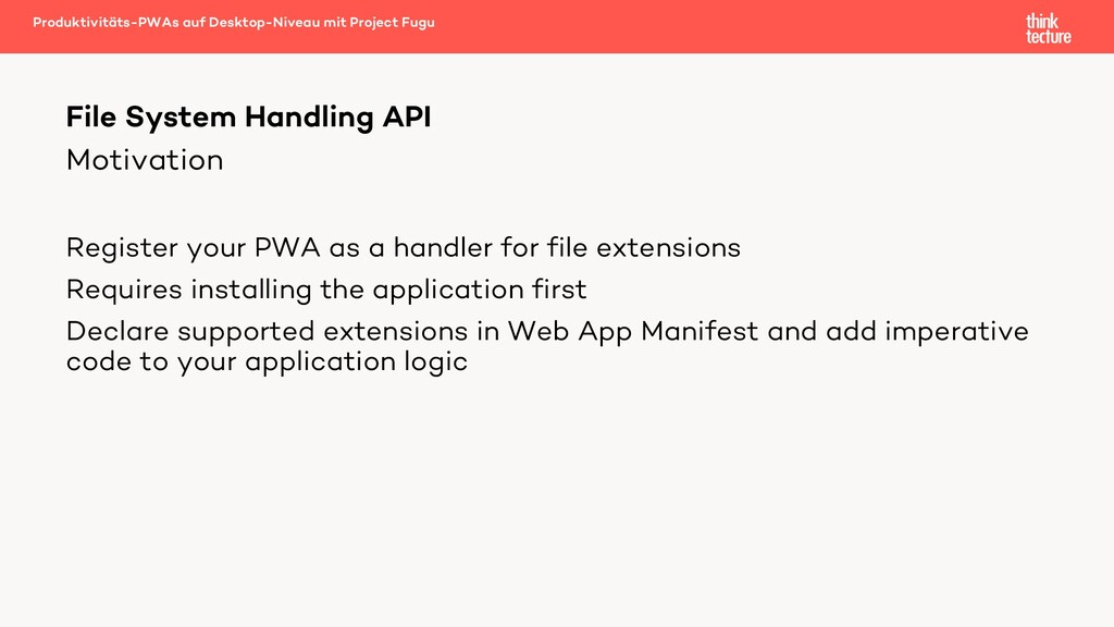 Motivation Register your PWA as a handler for f...