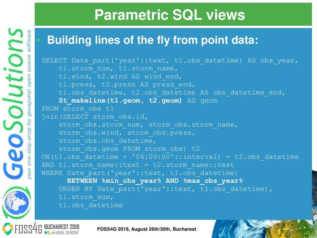 Parametric SQL views SELECT Date_part('year'::t...