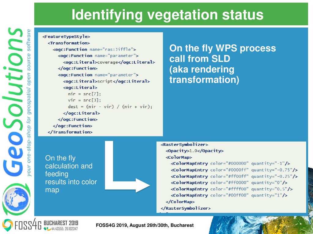 Identifying vegetation status On the fly calcul...