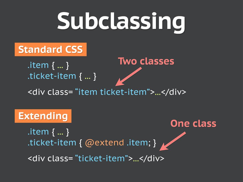 Subclassing .item { ... } .ticket-item { @exten...