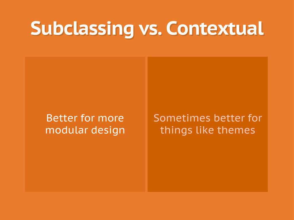 Subclassing vs. Contextual Better for more modu...