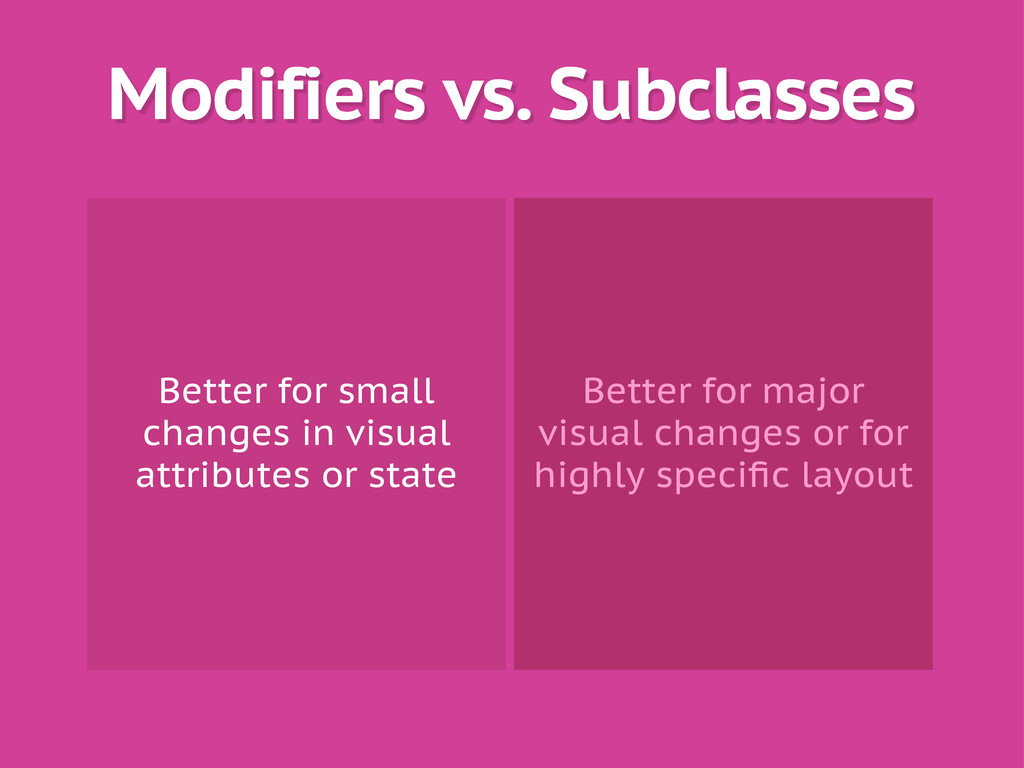 Modifiers vs. Subclasses Better for small chang...