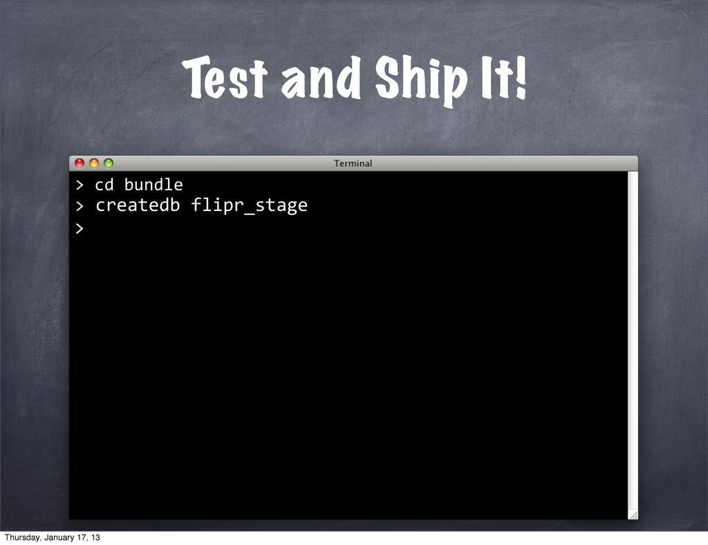 Test and Ship It! > 	