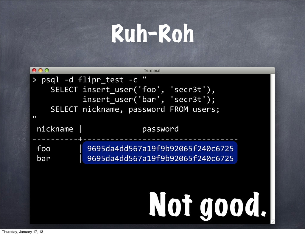 """psql -‐d flipr_test -‐c """"..."""