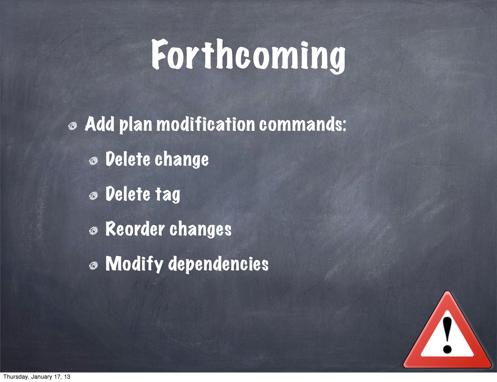 Forthcoming Add plan modification commands: Del...