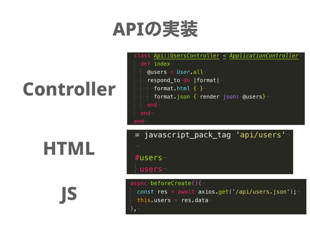 APIͷ࣮ Controller HTML JS