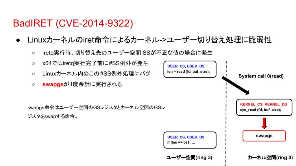 BadIRET (CVE-2014-9322) ● Linuxカーネルのiret命令によるカー...