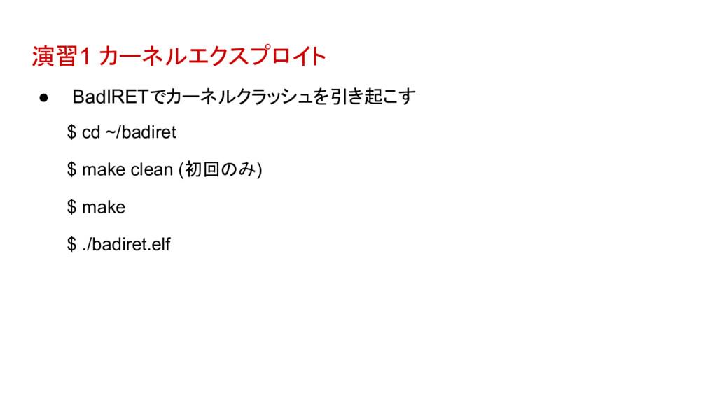 演習1 カーネルエクスプロイト ● BadIRETでカーネルクラッシュを引き起こす $ cd ...