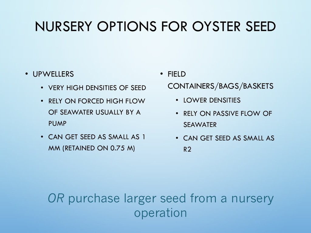 NURSERY OPTIONS FOR OYSTER SEED • UPWELLERS • V...
