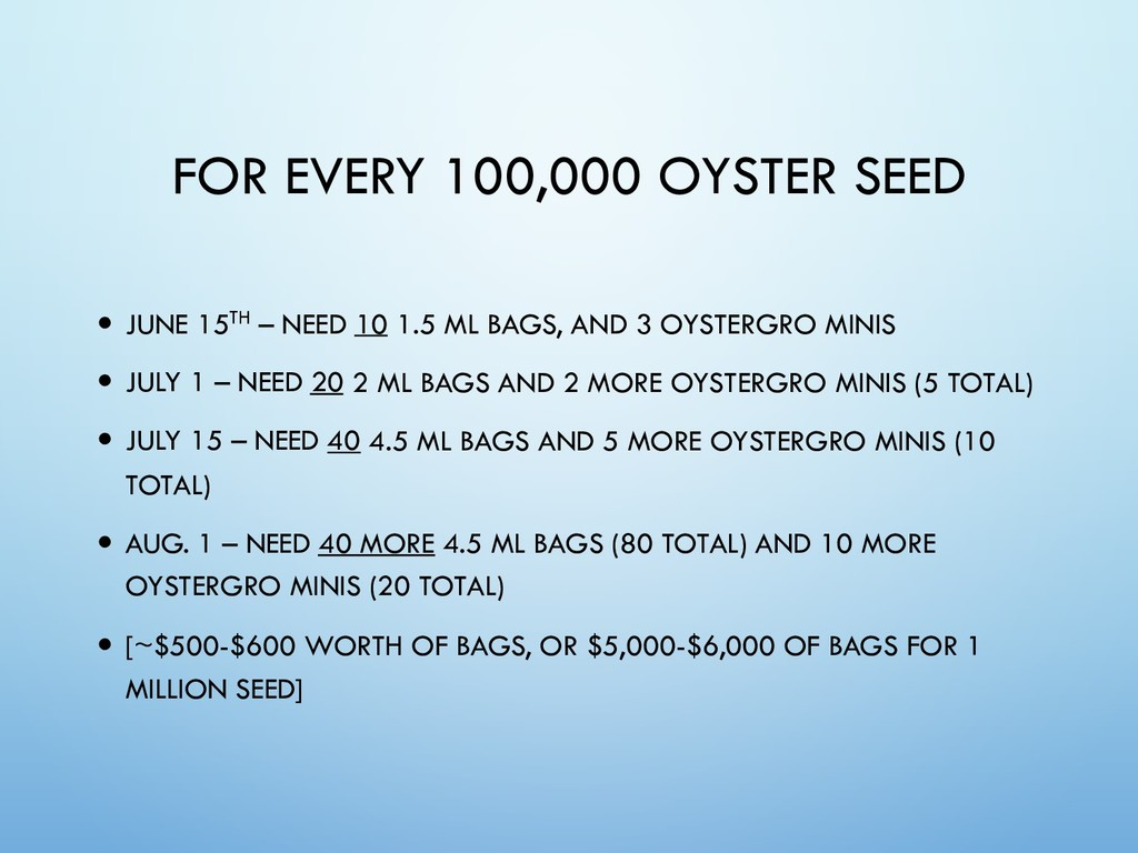 — JUNE 15TH – NEED 10 1.5 ML BAGS, AND 3 OYSTER...