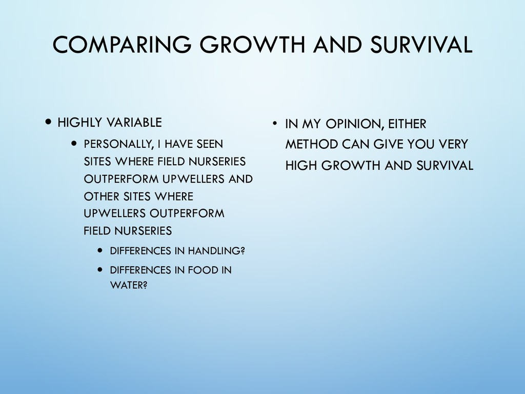 COMPARING GROWTH AND SURVIVAL — HIGHLY VARIABLE...
