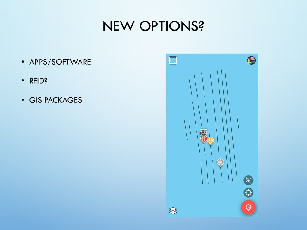 NEW OPTIONS? • APPS/SOFTWARE • RFID? • GIS PACK...