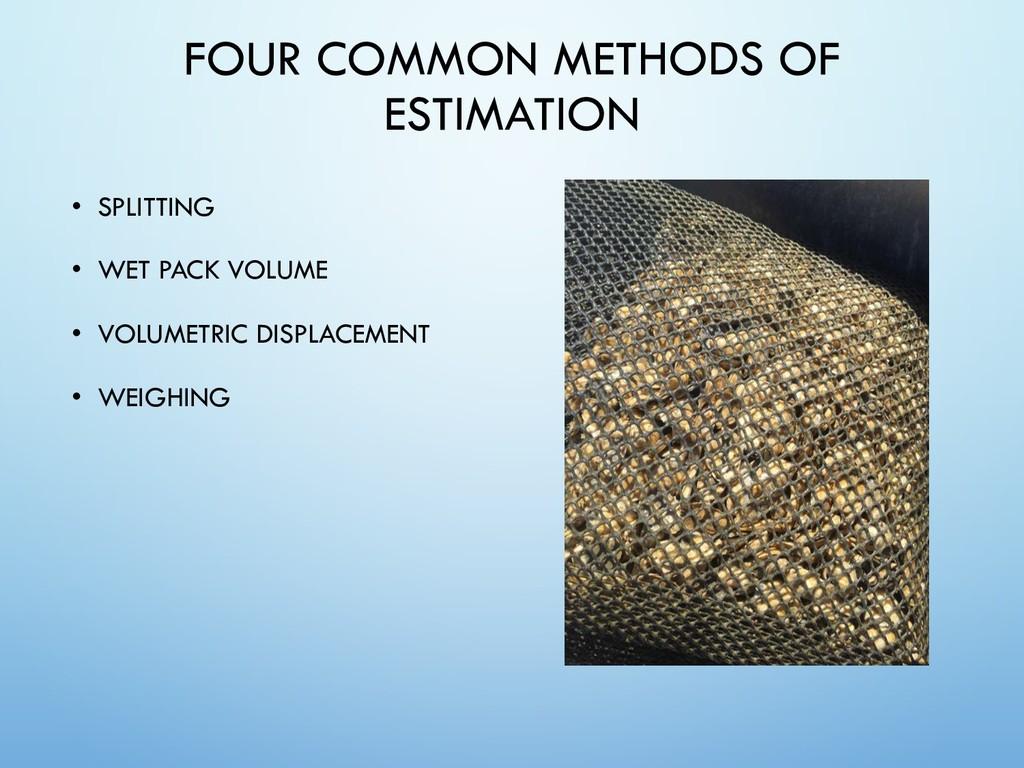 FOUR COMMON METHODS OF ESTIMATION • SPLITTING •...