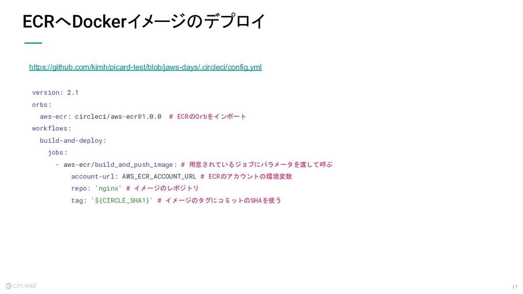 17 ECRへDockerイメージのデプロイ version: 2.1 orbs: aws-e...