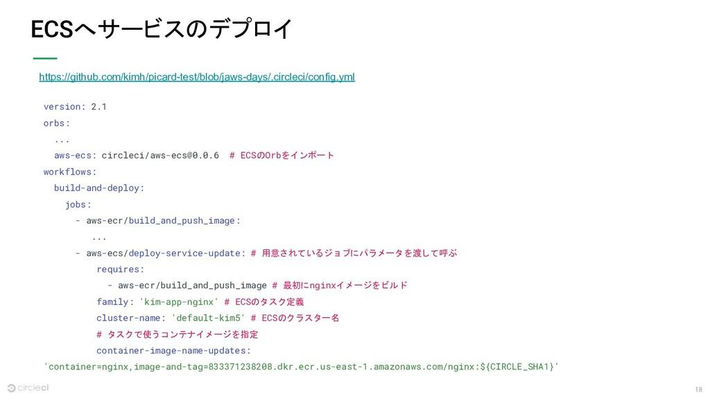 18 ECSへサービスのデプロイ version: 2.1 orbs: ... aws-ecs...