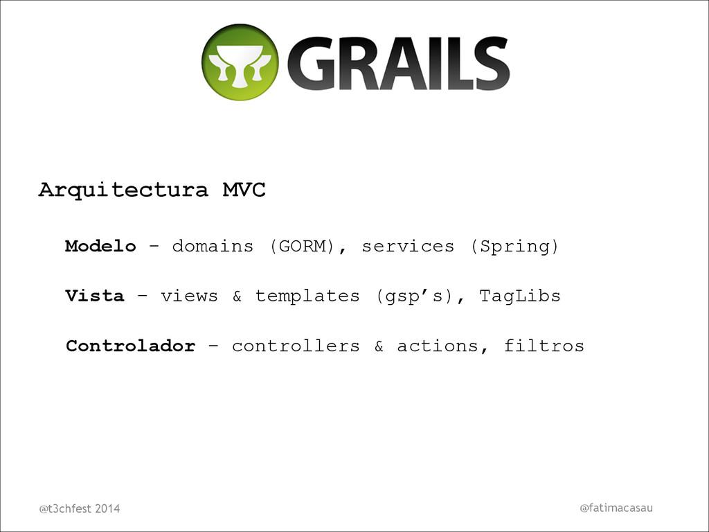 Arquitectura MVC Modelo - domains (GORM), servi...