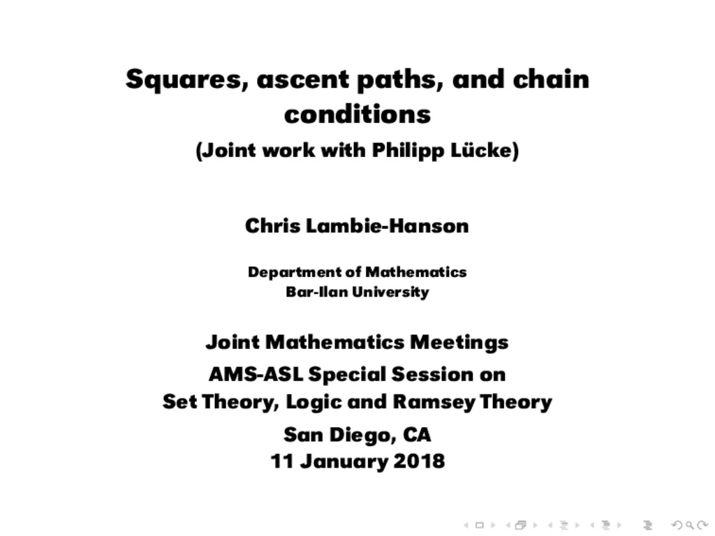 Squares, ascent paths, and chain conditions (Jo...
