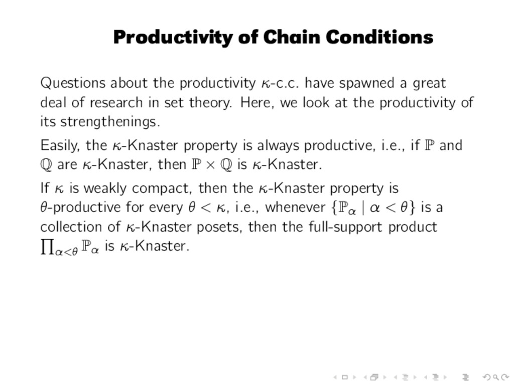 Productivity of Chain Conditions Questions abou...