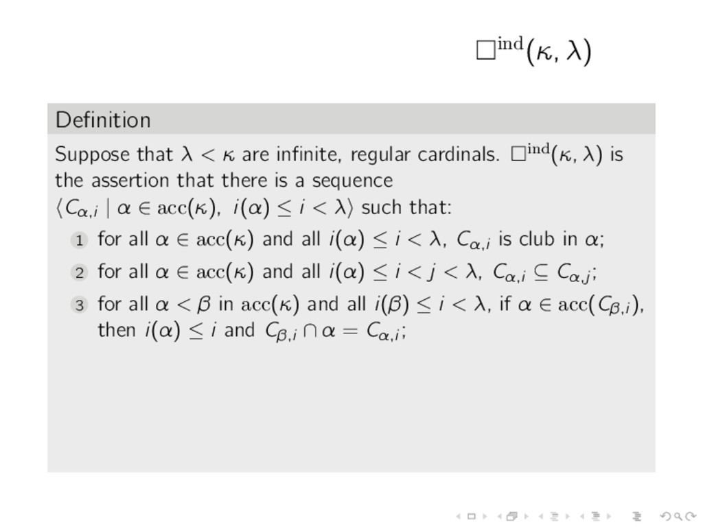 ind(κ, λ) Definition Suppose that λ < κ are infin...