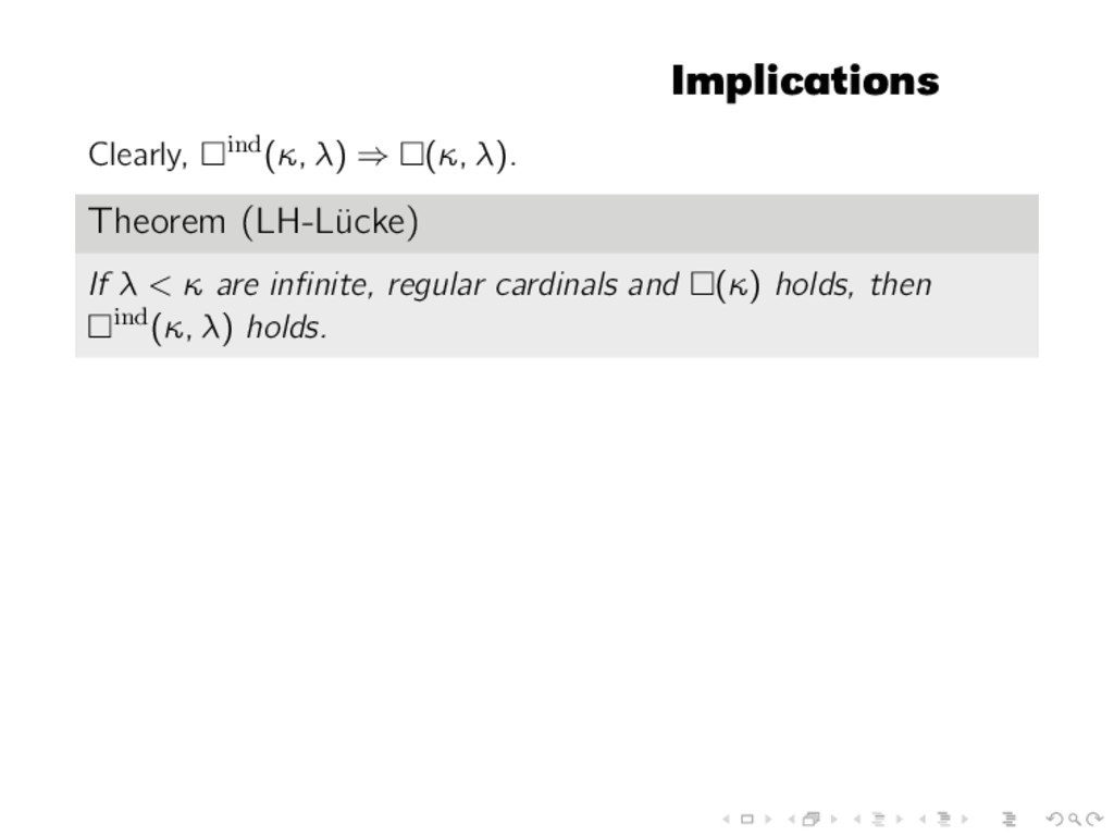 Implications Clearly, ind(κ, λ) ⇒ (κ, λ). Theor...