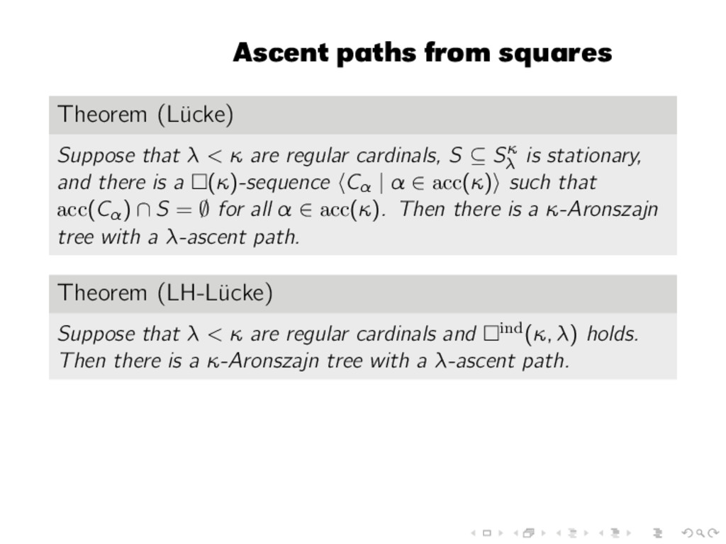 Ascent paths from squares Theorem (L¨ ucke) Sup...