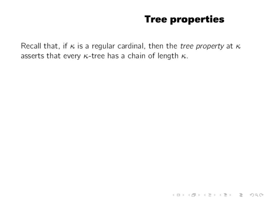 Tree properties Recall that, if κ is a regular ...