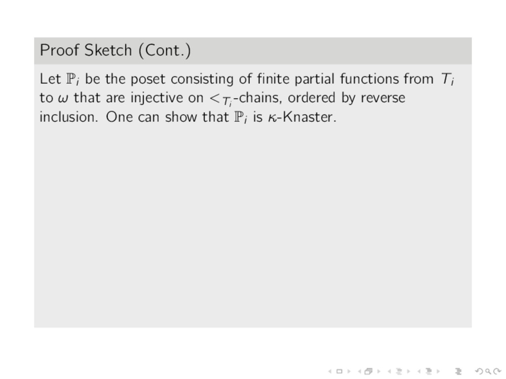 Proof Sketch (Cont.) Let Pi be the poset consis...
