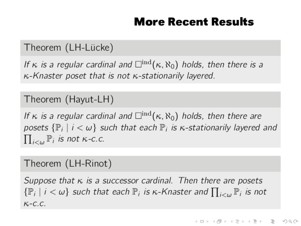 More Recent Results Theorem (LH-L¨ ucke) If κ i...