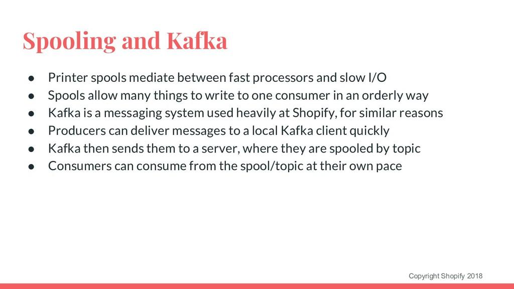 Copyright Shopify 2018 Spooling and Kafka ● Pri...