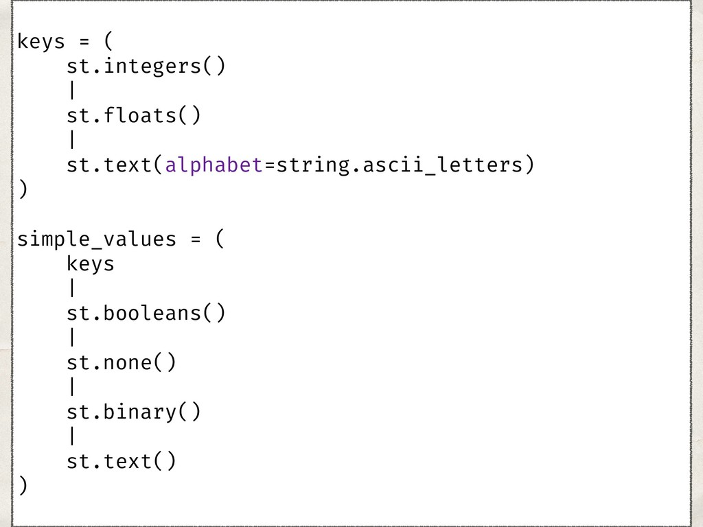 keys = ( st.integers() | st.floats() | s...