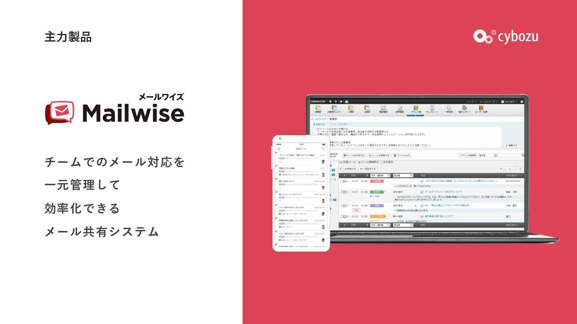 主⼒製品 チームでのメール対応を ⼀元管理して 効率化できる メール共有システム