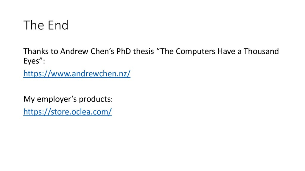 """The End Thanks to Andrew Chen's PhD thesis """"The..."""