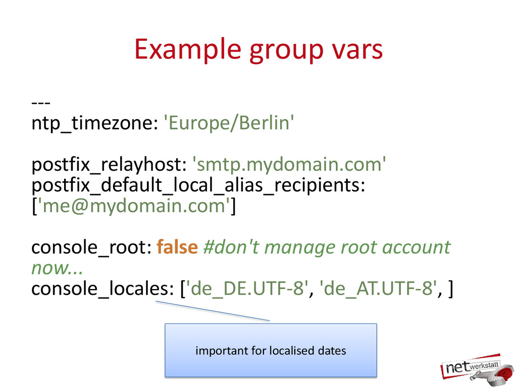 Example group vars --- ntp_timezone: 'Europe/Be...