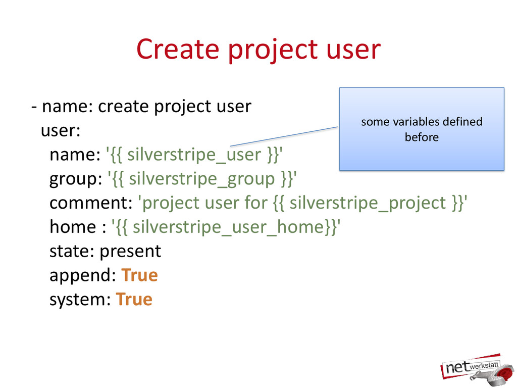 Create project user - name: create project user...