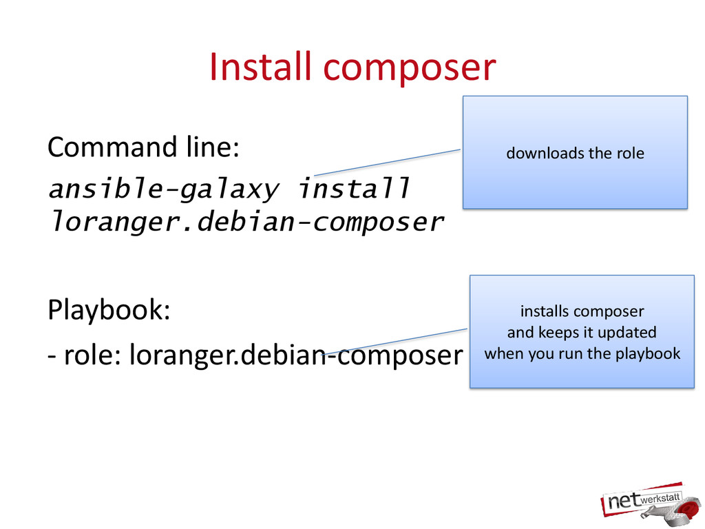 Install composer Command line: ansible-galaxy i...