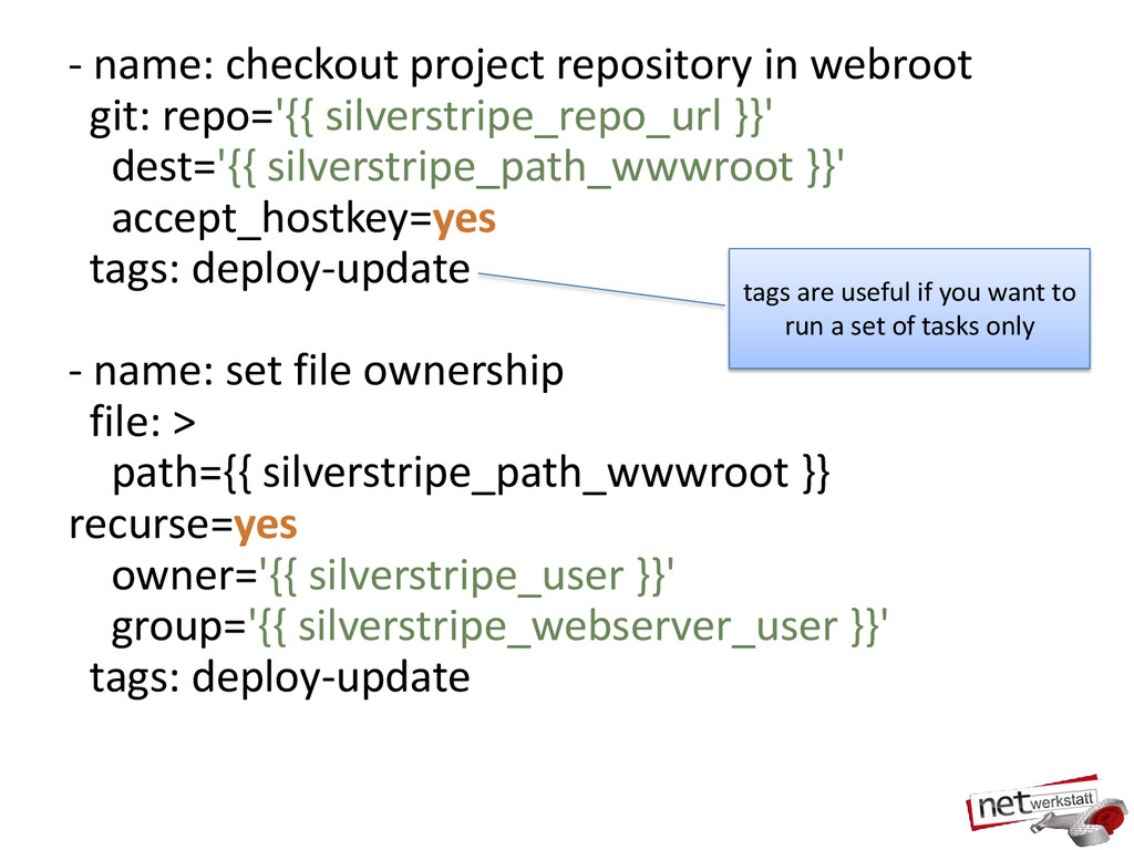 - name: checkout project repository in webroot ...